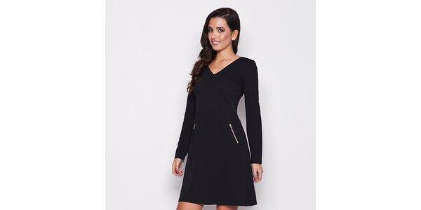 Dámské černé šaty s kapsami na zip Katrus