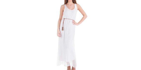 Dámské dlouhé bílé hedvábné šaty Keysha