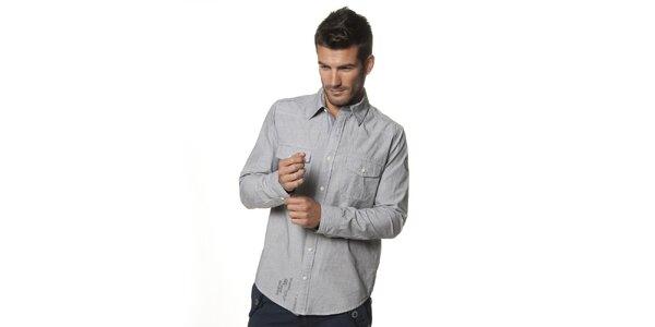 Pánská světle šedá melírovaná košile Unitryb
