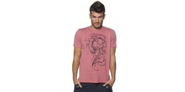 Pánské růžové tričko Unitryb s černým potiskem