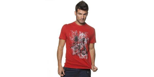Pánské červené tričko Unitryb s potiskem