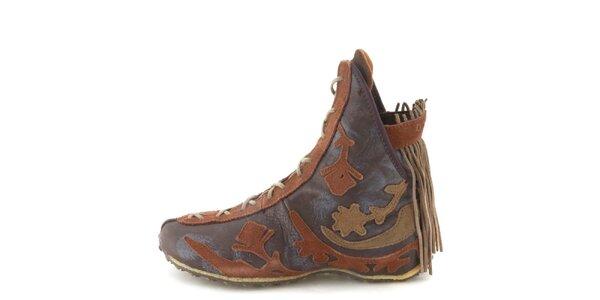 Dámské kožené hnědé kotníkové boty s třásněmi Diesel