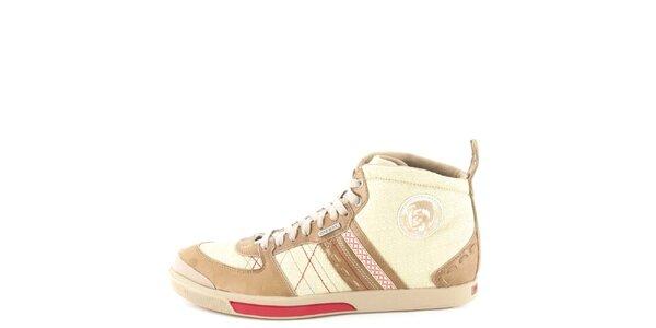 Pánské kožené běžovo-hnědo-červené kotníkové boty Diesel
