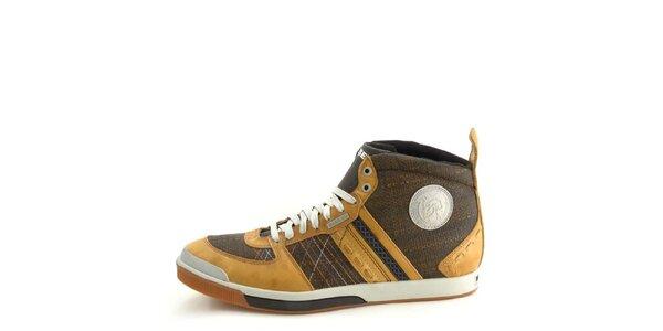 Pánské kožené hnědo-béžové kotníkové boty Diesel