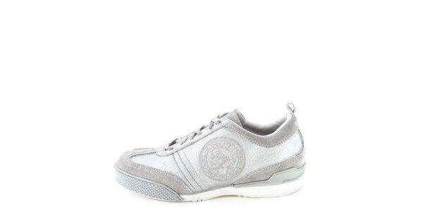 Dámské kožené šedo-stříbrné tenisky s prošíváním Diesel