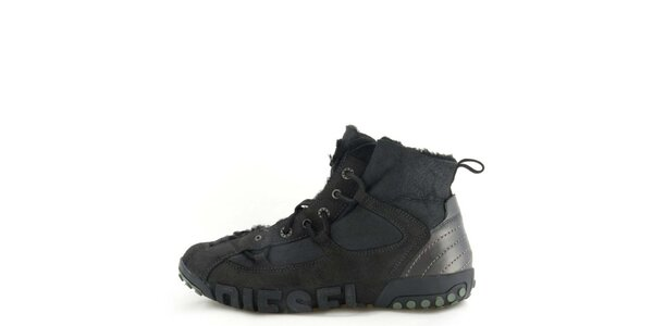 0a531e6ab6 Pánské kožené černé kotníkové boty s kožíškem Diesel