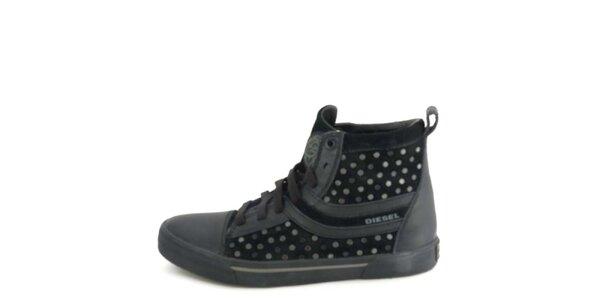 Dámské kožené černé kotníkové boty s metalickými cvočky Diesel