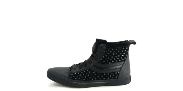 Pánské kožené černé kotníkové boty s kovovými kolečky Diesel