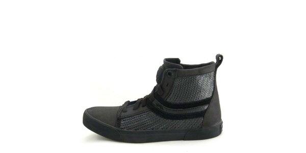 Dámské kožené černé kotníkové boty s flitry Diesel