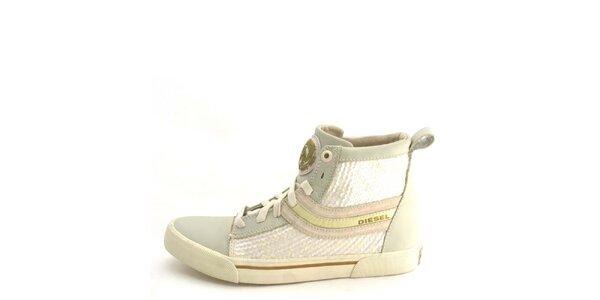 Dámské kožené béžové kotníkové boty s flitry Diesel