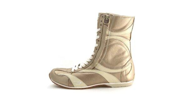 Dámské kožené tmavě běžové vysoké šněrovací boty na zip Diesel
