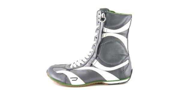 Dámské kožené šedo-bílé vysoké šněrovací boty na zip Diesel