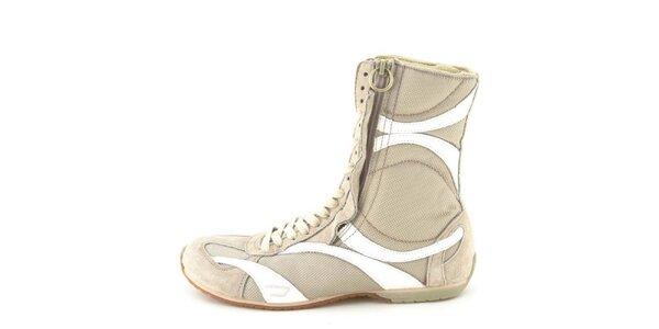 Dámské kožené béžovo-bílé vysoké šněrovací boty na zip Diesel