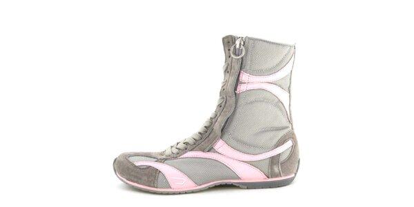 Dámské kožené šedo-růžové vysoké šněrovací boty na zip Diesel