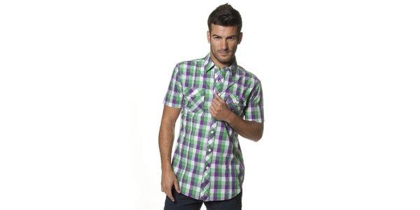 Pánská fialovo-zelená kostkovaná košile Unitryb