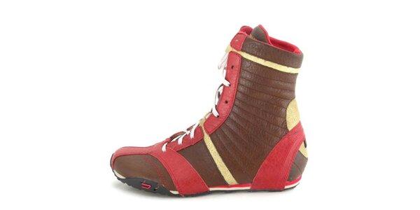 Dámské kožené hnědo-červeno-zlaté vysoké šněrovací boty Diesel