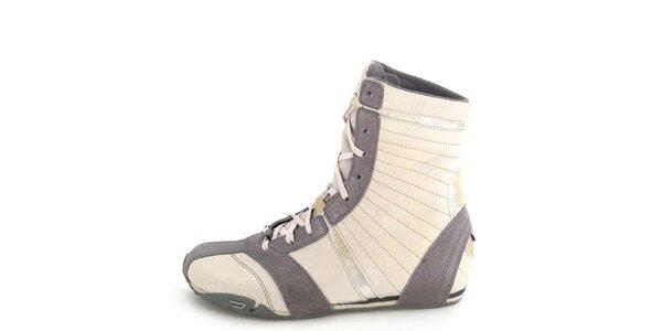 Dámské kožené šedo-béžové vysoké šněrovací boty Diesel