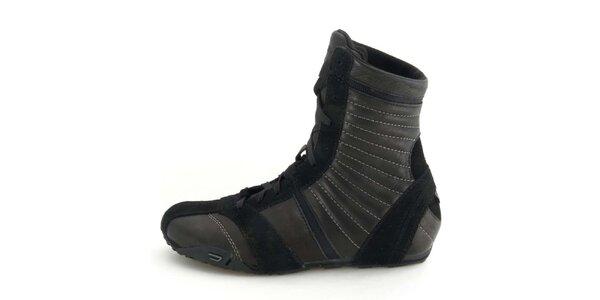 Dámské kožené černé vysoké šněrovací boty Diesel