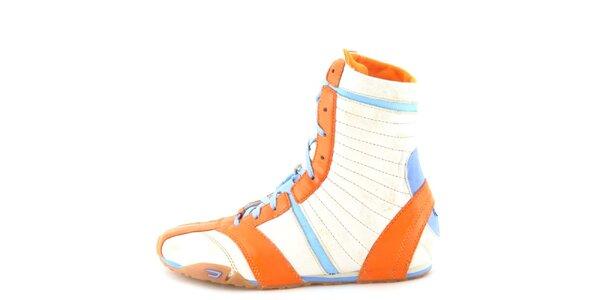 Dámské kožené béžovo-oranžovo-modré vysoké šněrovací boty Diesel