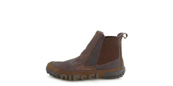 Pánské kožené tmavě hnědé kotníkové boty Diesel