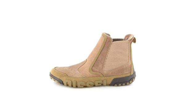 Pánské kožené béžové kotníkové boty Diesel
