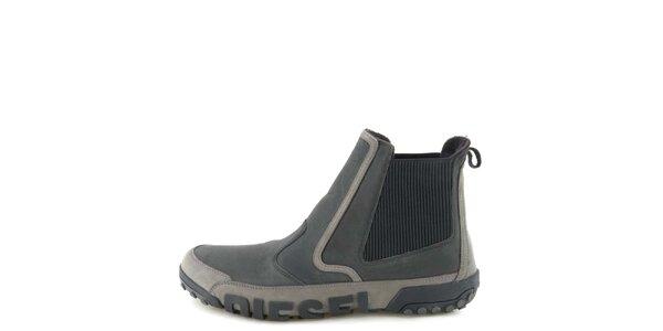 Pánské kožené černo-šedé kotníkové boty Diesel