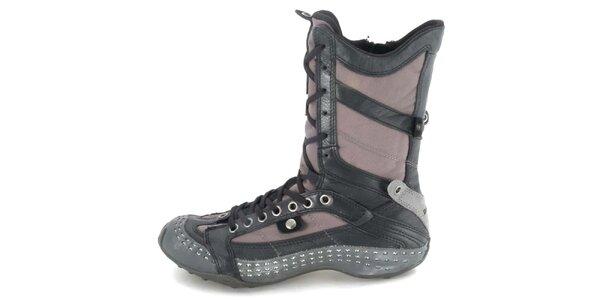 Dámské kožené hnědo-šedé vysoké šněrovací boty s perforací Diesel