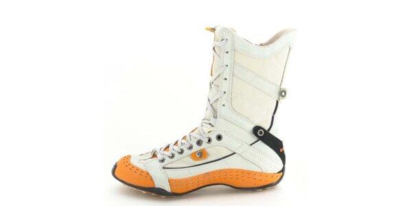 Dámské kožené vysoké šněrovací boty s perforací a oranžovými prvky Diesel