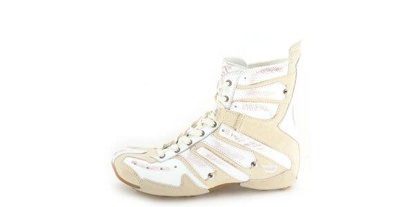 Dámské kožené vyšší béžové šněrovací boty se smetanově bílými prvky Diesel