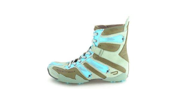 Dámské kožené vyšší khaki šněrovací boty s tyrkysovými prvky Diesel