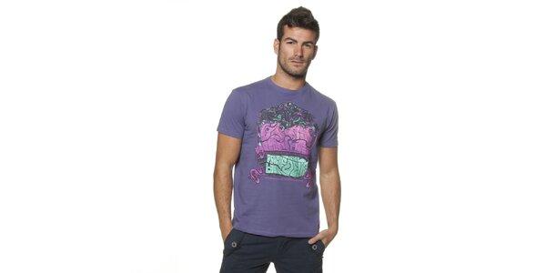 Pánské fialové tričko Unitryb s potiskem