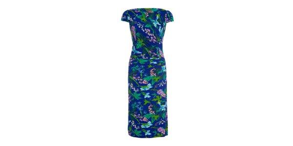 Dámské modré šaty s potiskem květin Fever