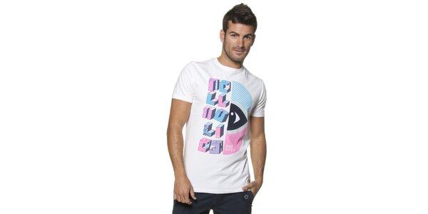 Pánské bílé tričko Unitryb s barevným potiskem