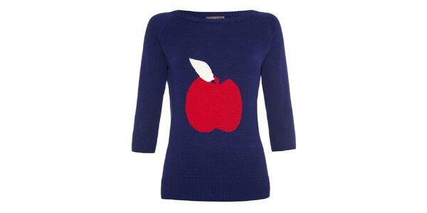 Dámský tmavě modrý svetr s jablíčkem Fever