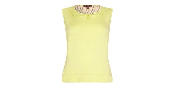 Dámský žlutý top s límečkem Fever