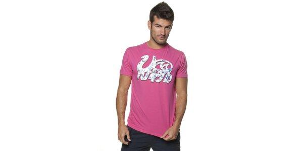 Pánské růžové tričko Unitryb s potiskem
