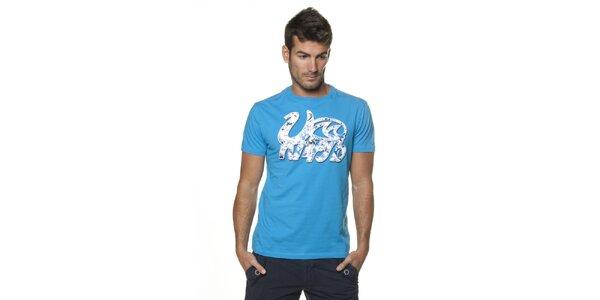 Pánské azurově modré tričko Unitryb s potiskem