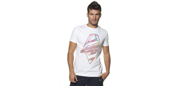 Pánské bílé tričko Unitryb s potiskem