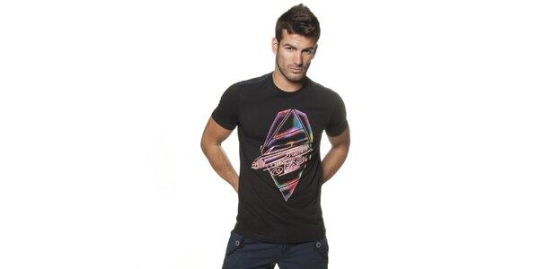 Pánské černé tričko Unitryb s potiskem