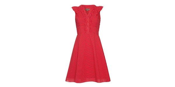 Dámské červené šaty s puntíky Fever