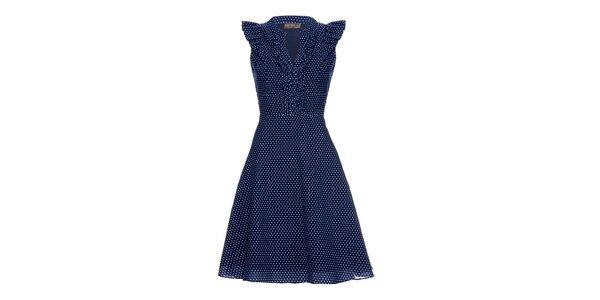 Dámské modré šaty s puntíky Fever