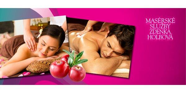 75 minut brusinkové relaxace – masáž a zábal