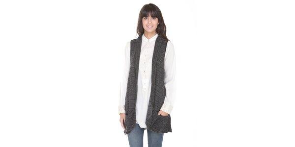 Dlouhý antracitový svetr bez rukávů Peace&Love