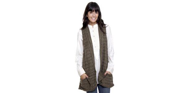Dlouhý khaki svetr bez rukávů Peace&Love