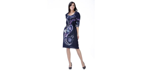 Modré vzorované šaty s nabíranými rukávy Peace&Love