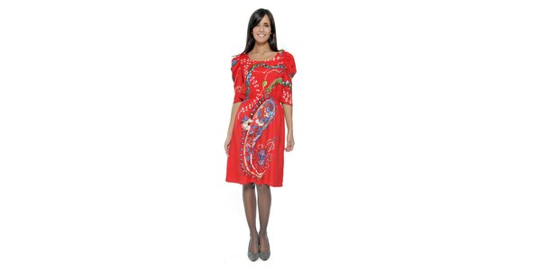 Korálové vzorované šaty s nabíranými rukávy Peace&Love