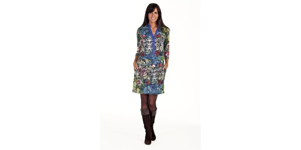 Batikované šaty s knoflíky Peace&Love