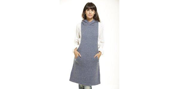 Šedomodré šaty s kapsou Peace&Love