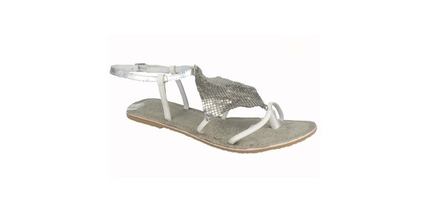 Dámské kožené bílo-stříbrné sandálky Bullboxer