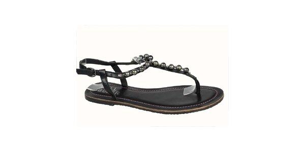 Dámské černé kožené sandálky s korálky Bullboxer